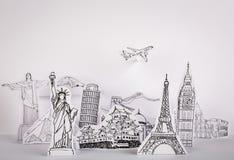 Corte l (Japón, Francia, Italia, Nueva York, la India, Egipto) del papel Foto de archivo