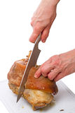 Corte la carne cocinada con el hueso Foto de archivo libre de regalías