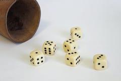 Corte la suerte del número en cuadritos del cuero de la taza de Kniffel del juego del juego Imagen de archivo libre de regalías