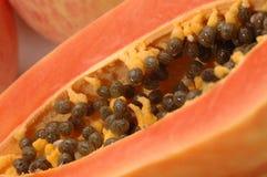 Corte la vista de la papaya Foto de archivo libre de regalías