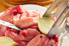 Corte los pedazos de carne fresca Foto de archivo libre de regalías