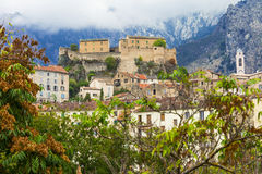 Corte - medeltida stad i Korsika royaltyfria bilder