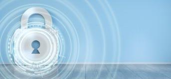 Corte na rendição digital da segurança 3D da casa Imagem de Stock Royalty Free