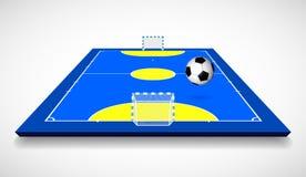 Corte o campo di Futsal con l'illustrazione di vettore di vista di prospettiva della palla royalty illustrazione gratis