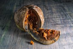Corte o close up inteiramente maduro do fruto do borojo imagem de stock