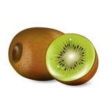 Corte o fruto de quivi e o quivi inteiro isolados ilustração do vetor