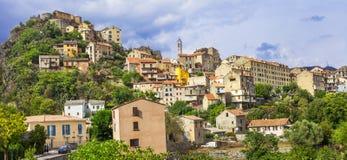 Corte - panoramautsikt corsica arkivbilder