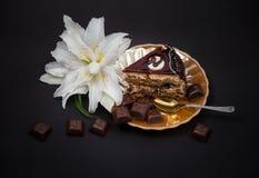 Corte a parte de bolo de chocolate em uma placa amarela da pérola com partes de telhas do chocolate uma flor do lírio Foto de Stock