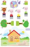 Corte pequeno & jogo de 3 porcos Foto de Stock Royalty Free