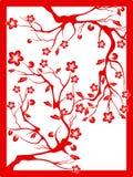 Corte rojo del flor-papel del ciruelo ilustración del vector
