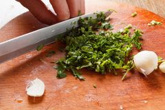 Corte a salsa e o garlici na placa de desbastamento Imagens de Stock