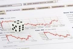 Corte sobre gráficos do mercado de valores de acção Foto de Stock