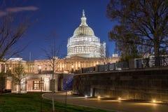 A corte suprema em Washington, C S Construção do Capitólio com andaime reduzido como uma parte de Imagens de Stock