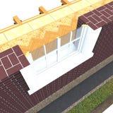 Corte transversal de la ventana de madera Imagen de archivo libre de regalías