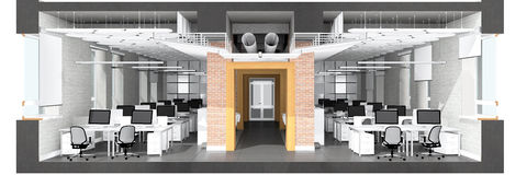 Corte transversal del espacio de oficina Foto de archivo