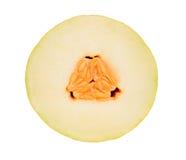 Corte transversal del melón en blanco Foto de archivo