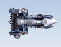 Corte transversal del motor a reacción de turboventilador aislado en fondo azul claro