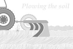 Corte transversal del suelo en el lugar del arado Trabajo en la primavera o el terreno del otoño Empleo cultivando libre illustration