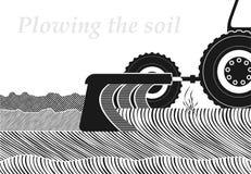 Corte transversal del suelo en el lugar del arado Trabajo en la primavera o el terreno del otoño Empleo cultivando stock de ilustración