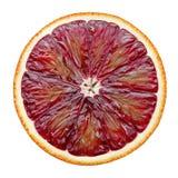 Corte vermelho da laranja pigmentada isolado no fundo branco Fotos de Stock Royalty Free