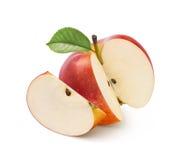 Corte vermelho da maçã de Jonathan isolado no branco Imagens de Stock