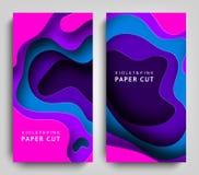 Corte vertical do papel das bandeiras Arte de papel nas cores violetas e azuis fundo do sumário 3D com formas do corte do papel c ilustração royalty free