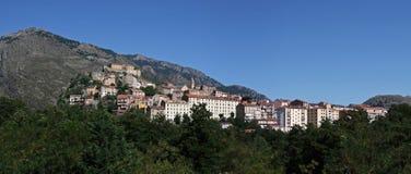 Corte , Corsica. View at citadel of Corte ( Corsica ) set in the picturesque environment of corsican mountains Stock Photo