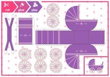 Corte y pegamento un carro de beb? Juego del arte de los ni?os para la p?gina de la actividad Cochecito de ni?o de papel 3d Ilust ilustración del vector