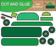 Corte y pegue la imagen del tanque militar Juego educativo para los niños ilustración del vector