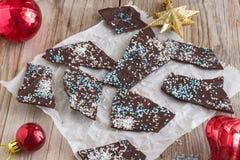 Corteccia casalinga di Natale del cioccolato Immagine Stock Libera da Diritti