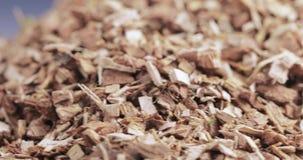Corteccia della quercia sciolta sulla tavola stock footage