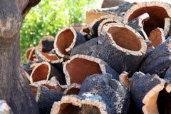 Corteccia impilata vicino alla quercia di sughero in Alentejo, Portogallo Fotografie Stock Libere da Diritti