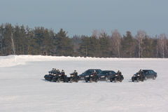 Cortege. Motorcade accompanied by a motorcycles escort winter Stock Photos