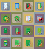 corteje el estadio y el campo del patio para los iconos planos de los juegos de los deportes Fotos de archivo libres de regalías