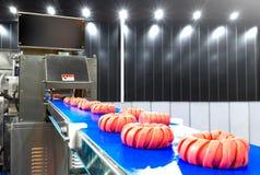 Cortes crus frescos da carne de carne de porco em uma correia transportadora para empacotar na planta de fábrica industrial da ca foto de stock royalty free