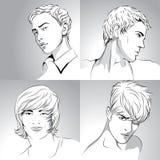 Cortes de cabelo dos homens desenhados à mão Imagem de Stock Royalty Free