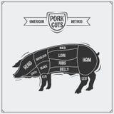 Cortes de carne de porco Método americano Estilo do vintage Imagem de Stock Royalty Free