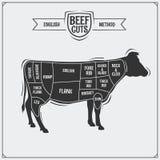 Cortes de carne ingleses Ilustração do vetor Imagens de Stock