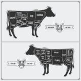 Cortes de carne Método americano e inglês Foto de Stock Royalty Free