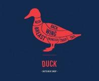 Cortes de la carne Esquema del pato ilustración del vector