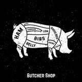 Cortes del cerdo stock de ilustración