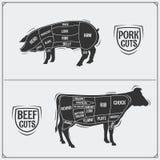 Cortes del cerdo y de la carne de vaca Método americano Estilo de la vendimia libre illustration
