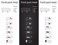 Cortes frescos de la carne de cerdo fijados Fotografía de archivo