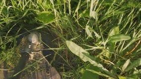 Cortes rotatorios hierba y ramas de la cuchilla eléctrica del condensador de ajuste en el sitio almacen de metraje de vídeo