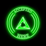 Cortex CTXC accepted here sign. Cortex CTXC green neon cryptocurrency symbol in round frame with text `Accepted here vector illustration