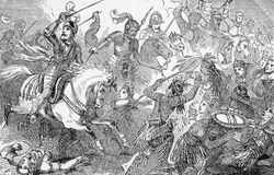 Cortez leads the charge. Hernando Cortez leads a cavalry charge against Mexican Indians on March 25, 1519. From an engraving in Hernando Cortez by Jacob Abbott Vector Illustration