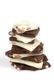 Corteza blanca y oscura del chocolate Imágenes de archivo libres de regalías