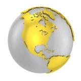Corteza terrestre de acero cepillada del oro del globo 3D Foto de archivo libre de regalías