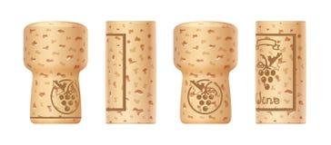 Cortiça da garrafa de vinho das uvas Grupo de torneiras de madeira ilustração stock