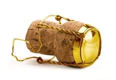 Cortiça de Champagne do ouro Fotografia de Stock Royalty Free